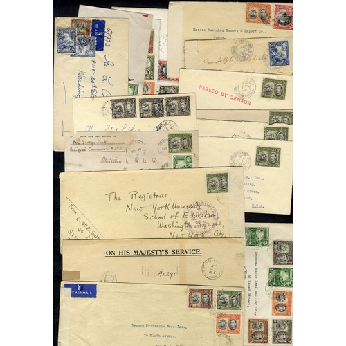 960 - WWII covers to USA with s/line PASSED BY CENSOR in red (6) others with censor mark or labels. Attrac...