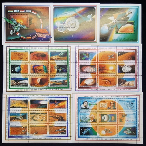 961 - 1991 Exploration of Mars set of four sheets of nine stamps + M/Sheets of three different $6 stamps, ...