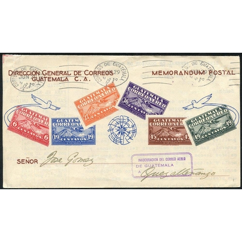 962 - 1930-69 range of cacheted first flight covers (7) incl. 1930 June 29th CNA Guatemala City - Quezalte...