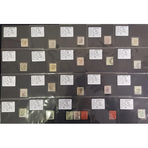 963 - QV-QEII chiefly U QV (28) selection of stamps each on a black display card annotated & identified by...