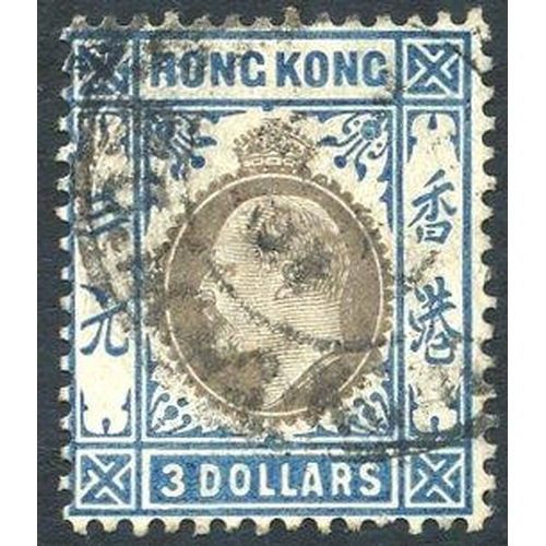 972 - 1905 MCCA $3 slate & dull blue VFU, SG.88. Cat. £350...