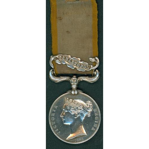13 - Crimea Medal 1854, clasp Sebastopol to Bombdr, Rich. P. Worger, Royal Artillery (official mint impre...