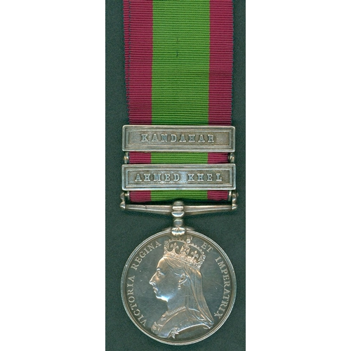 24 - Afghanistan Medal 1881, clasps Ahmed Khel & Kandahar to 1754 Pte H. Jewell, 2/60th Foot. EF....