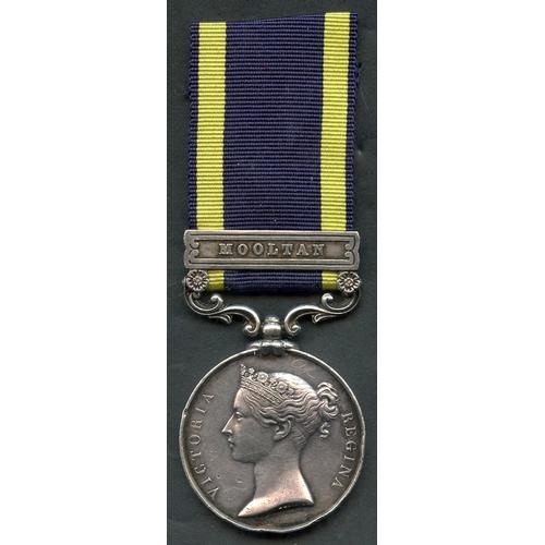 3 - Punjab Medal, clasp Mooltan 1848-49 to W. Armistead, 1st Bttn 60th Royal Rifles, VF with EK at 6 o'c...