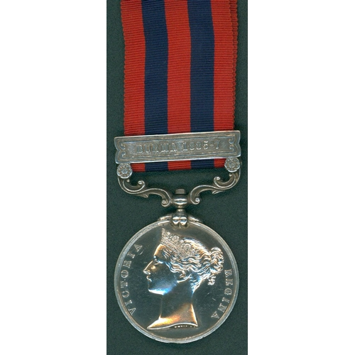 7 - India General Service Medal 1854, clasp, Burma 1885-87 to Pte H. Harris, 1st Bttn Rifle Brigade smal...