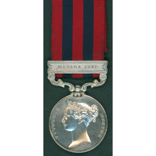 8 - India General Service Medal, clasp Hazara 1891 to J. T. Pringle, H.M.S Hastings (this is a renamed i...