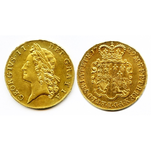 898 - 1729 gold five guineas, TERTIO, nice EF with considerable mint bloom, a very impressive coin & rare ...