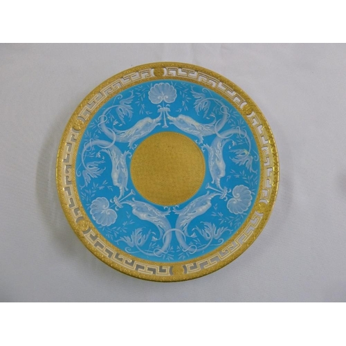 103 - Minton Pate sur Pate plate with gilt pierced border, marks to the base, 15.5cm diameter, A/F...