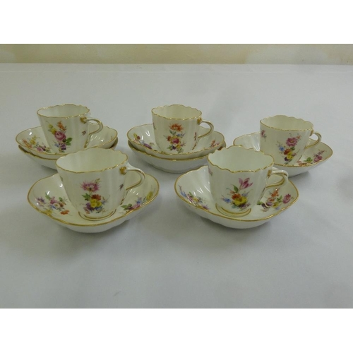 109 - Meissen coffee set to include five cups and seven saucers...