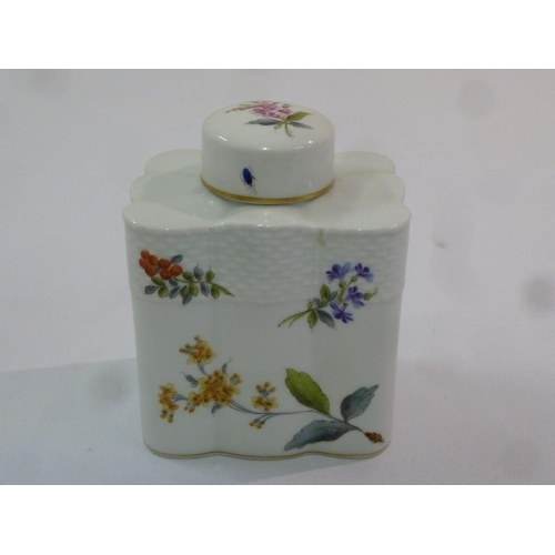 110 - Herend porcelain hand painted rectangular tea caddy decorated with floral sprays, marks to the base...