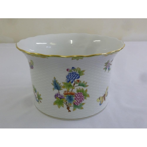 112 - Herend hand painted plant holder decorated with floral sprays, signed to the base...