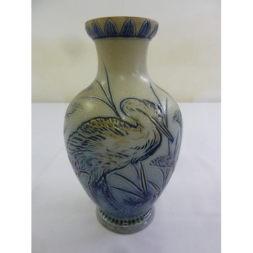 114 - Royal Doulton Hannah Barlow vase with incised decoration of herons, marks to the base, 25.5cm (h)...