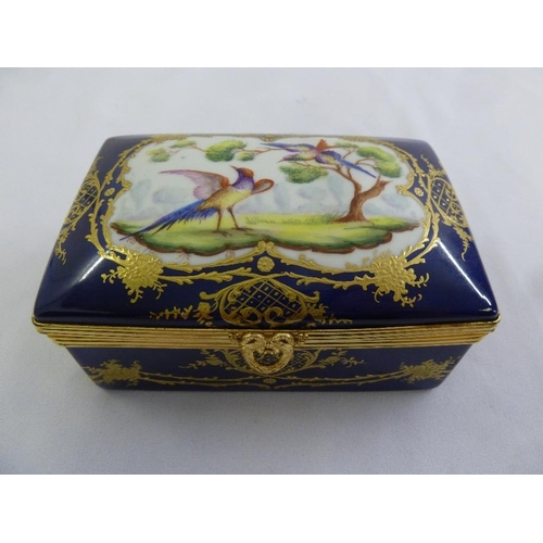 116 - Atelier le Tallec blue ground rectangular box with gilt metal mounts and painted decoration of birds...