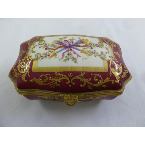 117 - Atelier le Tallec shaped rectangular red ground box with hinged cover, gilt metal mounts, decorated ...