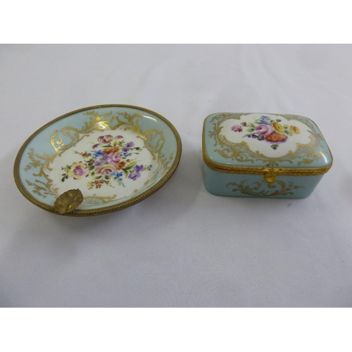 120 - Atelier le Tallec covered box, blue ground decorated with flowers and a matching dish...