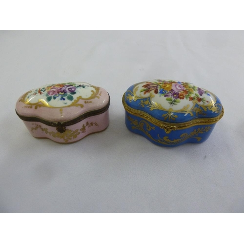 121 - Atelier le Tallec two serpentine shaped covered boxes with hinged covers, decorated with flowers and...