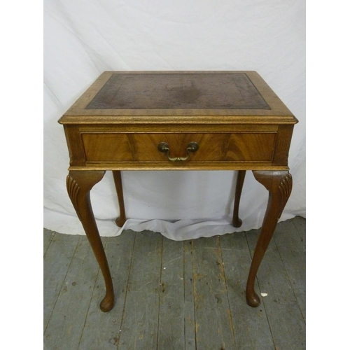 13 - An early 20th century mahogany rectangular side table, tooled leather top and single drawer on four ...