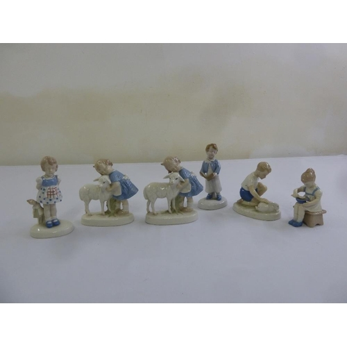 142 - A quantity of Royal Copenhagen style figurines of children  (6)...