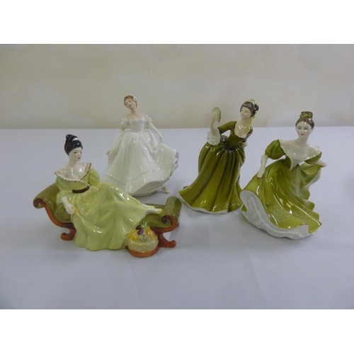 149 - Royal Doulton four figurines, At Ease HN2473, Nancy HN2955 (A/F), Simone HN2378 and Lynne HN2329...
