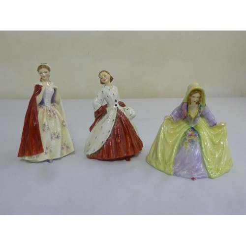 151 - Two Royal Doulton figurine, Bess and Ermine coat and another by Thorley Bone China...
