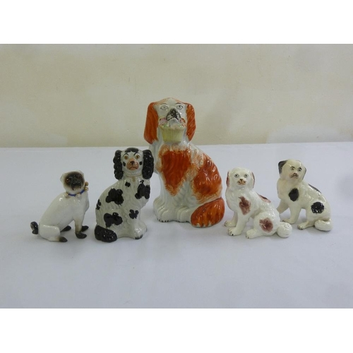 155 - A quantity Staffordshire figurines of dogs (5)...