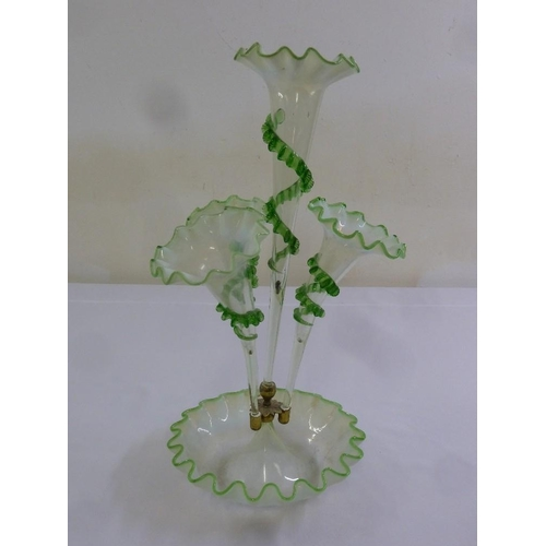 165 - A Victorian Vaseline glass epergne with central flute and three vases on crimped circular base...