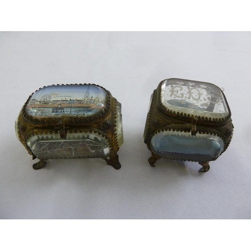 170 - Two Victorian glass gilt metal caskets on four scroll legs...