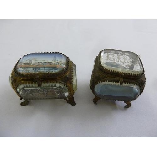170 - Two Victorian glass gilt metal caskets on four scroll legs...