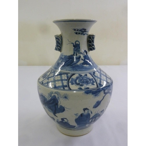 174 - A Chinese blue and white Kangxi style vase decorated with figures and geometric patterns, 26cm (h)...
