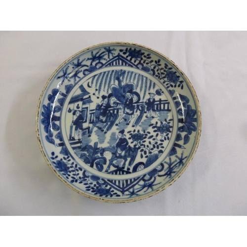 176 - A Chinese Quinlong blue and white dish decorated with stylised figures...