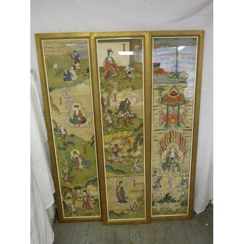 185 - Three 19th century Chinese framed and glazed hand painted panels, depicting figures and deities in s...
