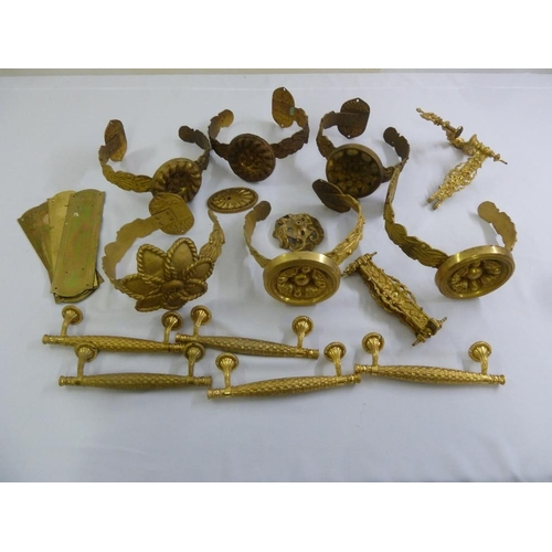 192 - A quantity of gilt metal fittings and wall bracket...