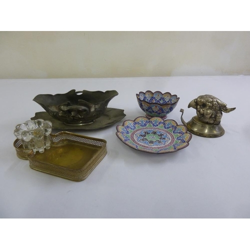 197 - A quantity of metal and enamel work to include Persian dishes and a pewter gravy boat on stand (6)...