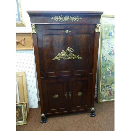 2 - A French 19th century mahogany Empire period rectangular cabinet with cast brass classical figures a...