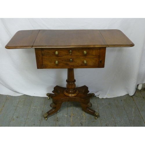 20 - A Victorian mahogany side table with drop flap sides and two drawers on pedestal base...