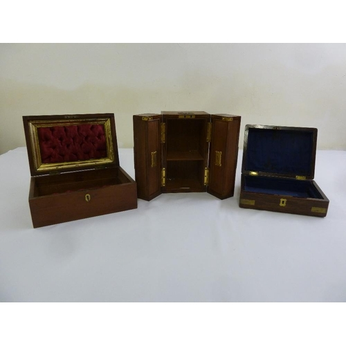 202 - Three mahogany jewellery boxes with hinged covers...