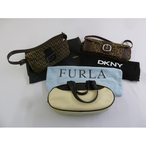 206 - Three ladies fashion handbags to include Fendi, Furla and DKNY...