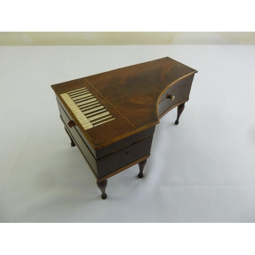 208 - An early 19th century ladies sewing box in the form of a grand piano, the hinged cover revealing ori...