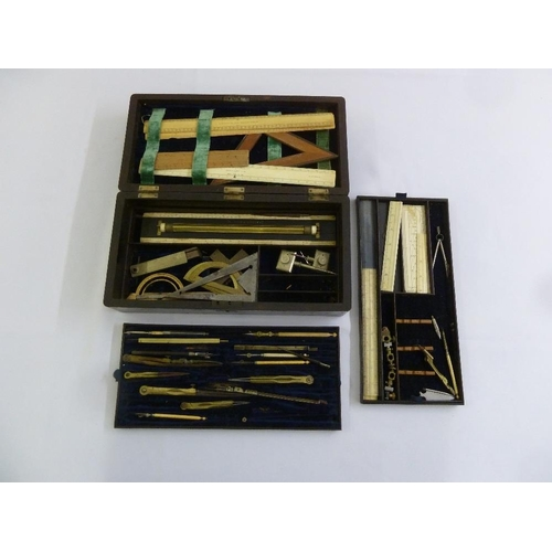 215 - A Victorian draftsman's set in fitted mahogany case...