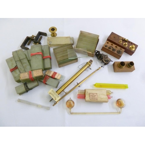 216 - A quantity of late 19th century and early 20th century microscope slides and scientific instruments...
