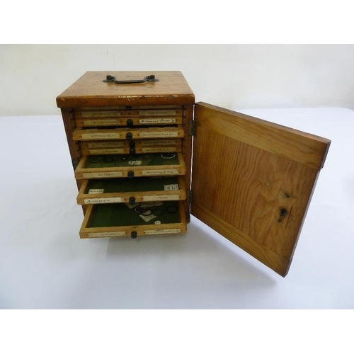 217 - A quantity of mixed microscope slides in rectangular fitted wooden case, approx 200 slides...