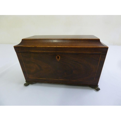 225 - A Victorian mahogany tea caddy, sarcophagus form with satinwood stringing, cast brass eagle swing si...