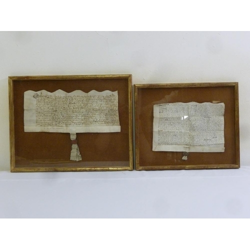 231 - A pair of framed and glazed velum indentures...