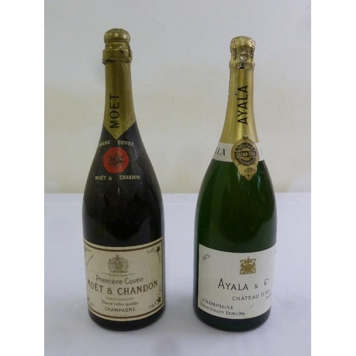 242 - Two magnums of Champagne to include Moet and Chandon and Ayala vintage 1975...