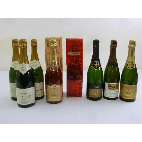 244 - Eight 75cl bottles of champagne to include Fortnum and Mason Grand Cru, Tattinger, Piper-Heidseick, ...