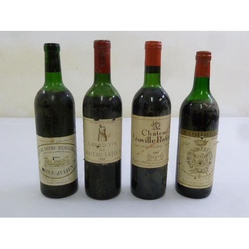 249 - Four French Clarets to include Chateau Ducru-Beaucaillou 1964 Saint Julien, Grand Vin de Chateau Lat...