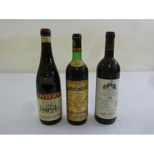 251 - Three 75cl bottles of Italian wine to include Vino Barolo 1969 Conterno, Vino Spanna Santachiara 196...
