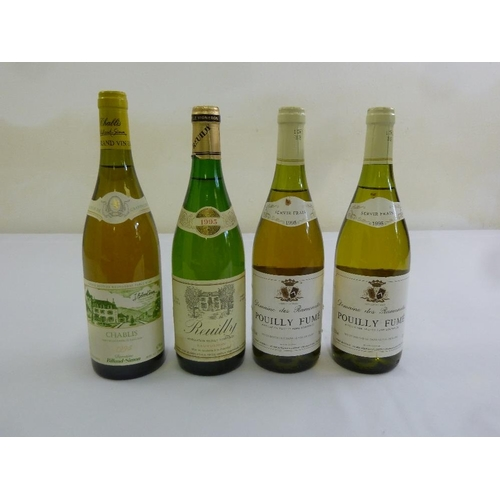 252 - Four 75cl bottles of French white wine to include Chablis 1995, Reuilly 1995, Domaine de Ramonates P...