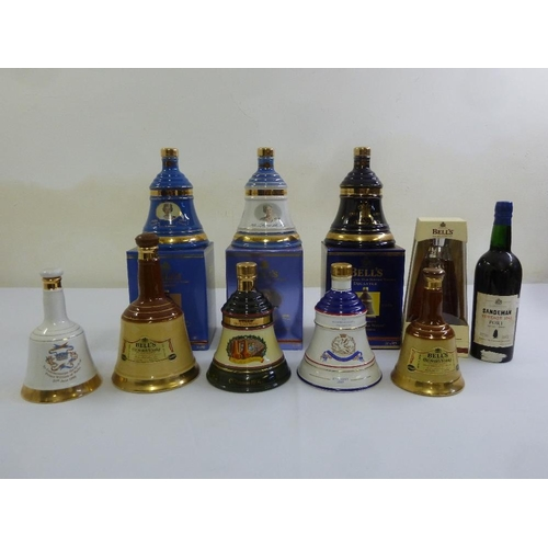 255 - Bells Old Scotch Whisky nine commemorative novelty bottles, various dates, four boxed, and 1 bottle ...