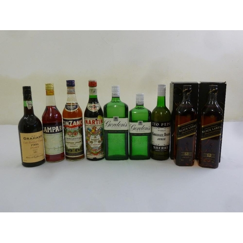 257 - A quantity of whisky, port, gin, vermouth and sherry to include Johnnie Walker Black Label, Grahams ...